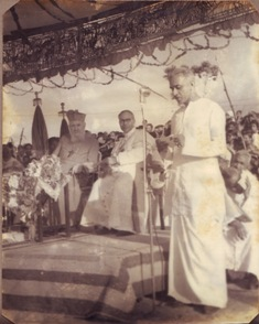 Caritas Hospital foundation stone laying ceremony welcome speech by James Vellapally in the presence of Cardinal Tiserang and Mar Thomas Tharayil