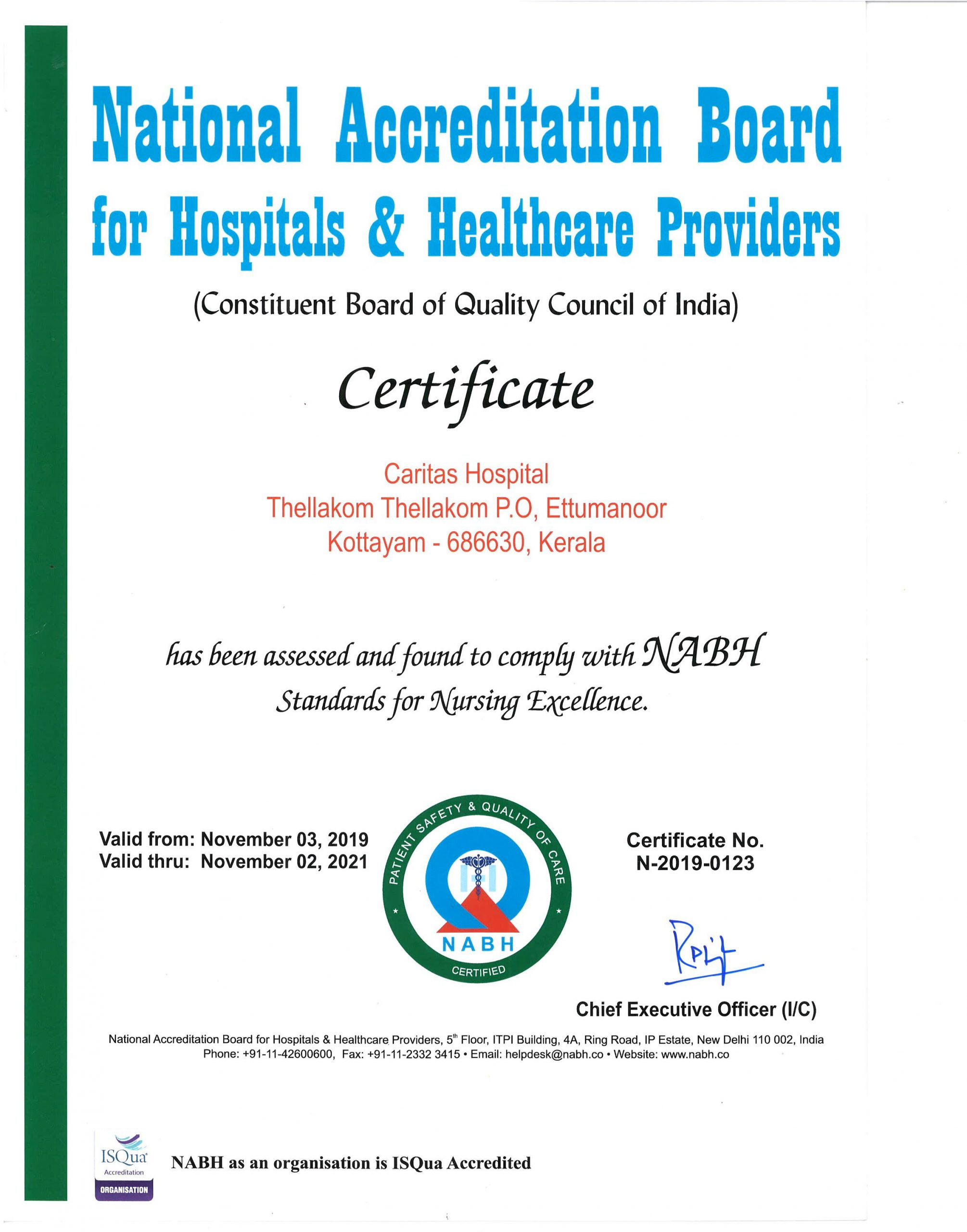 NABH Nursing Excellence Certificate